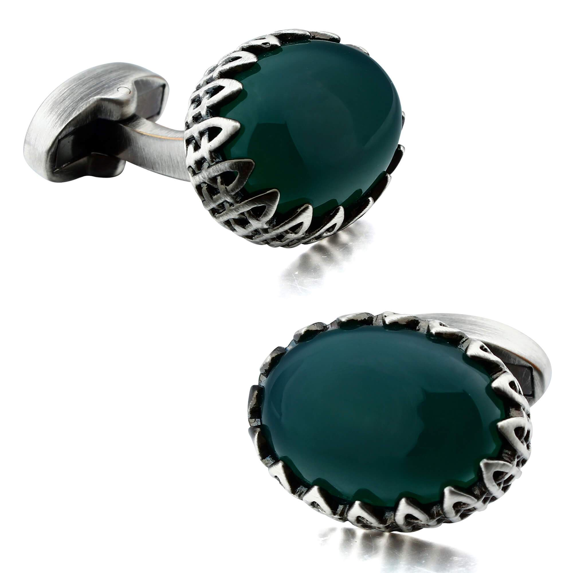 Green Agate in Antique Silver Cufflinks Classic & Modern Cufflinks Clinks Australia Default