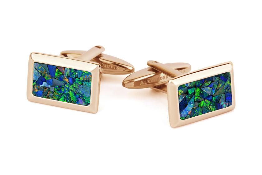Australian Opal Rectangle Cufflinks (Green Rose Gold) Classic & Modern Cufflinks Clinks Australia Default