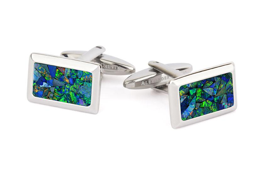 Australian Opal Rectangle Cufflinks (Green Silver) Classic & Modern Cufflinks Clinks Australia Default