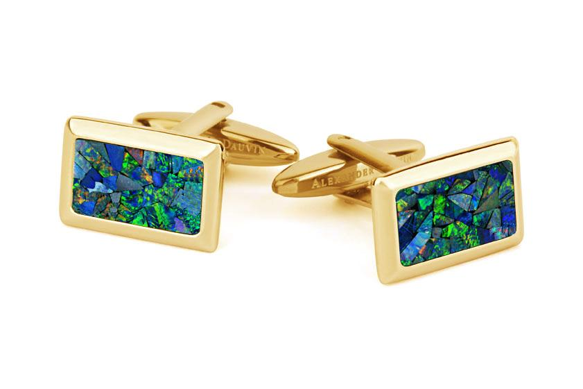 Australian Opal Rectangle Cufflinks (Green Yellow Gold) Classic & Modern Cufflinks Clinks Australia Default