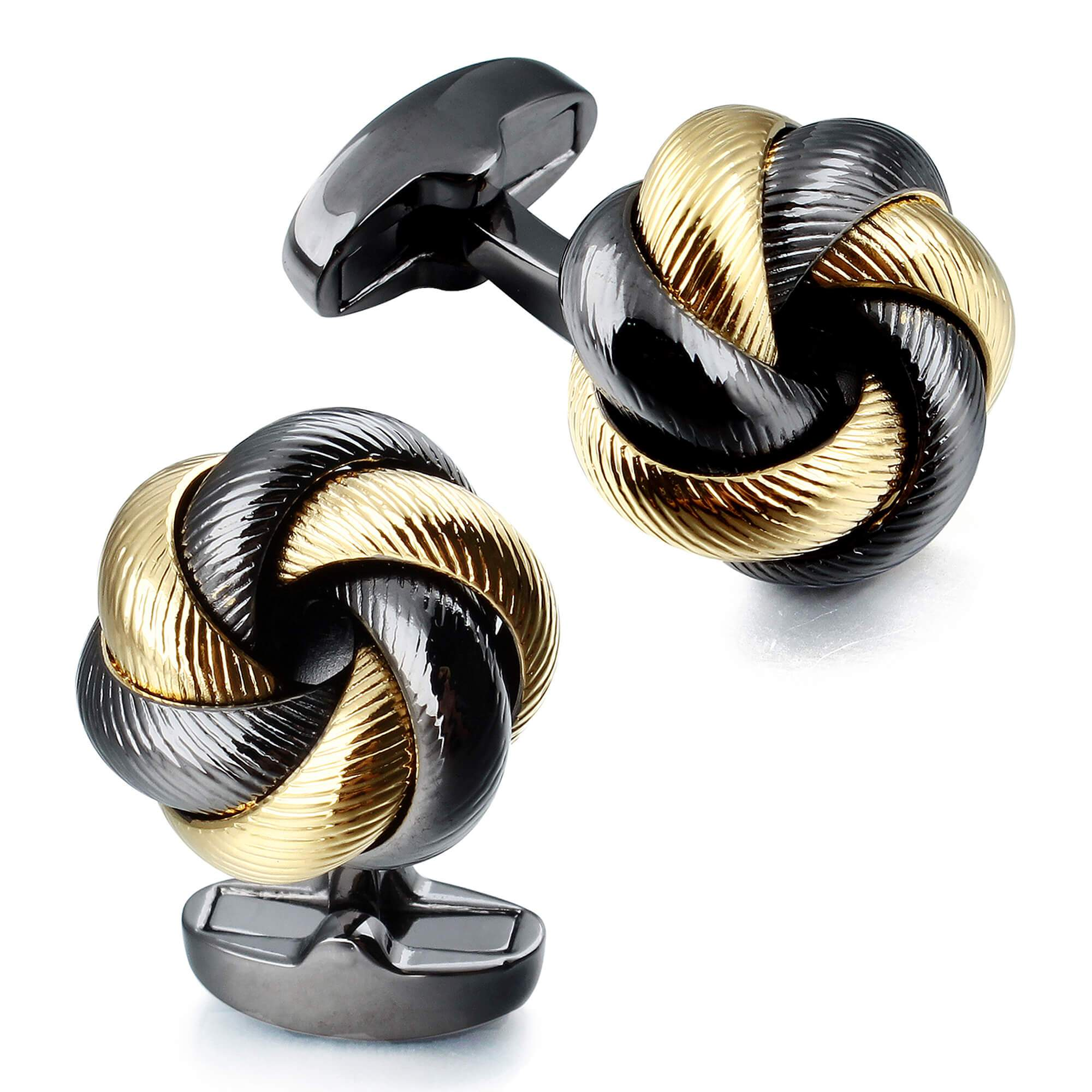 Gunmetal with Gold Knots Cufflinks Classic & Modern Cufflinks Clinks Australia Default
