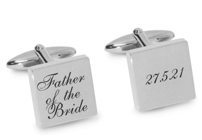 Father of the Bride Wedding Date Cufflinks Engraving Cufflinks Clinks Australia Silver Black