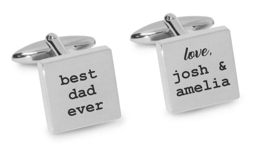 Best Dad Ever with Love Engraved Cufflinks Engraving Cufflinks Clinks Australia Silver Black