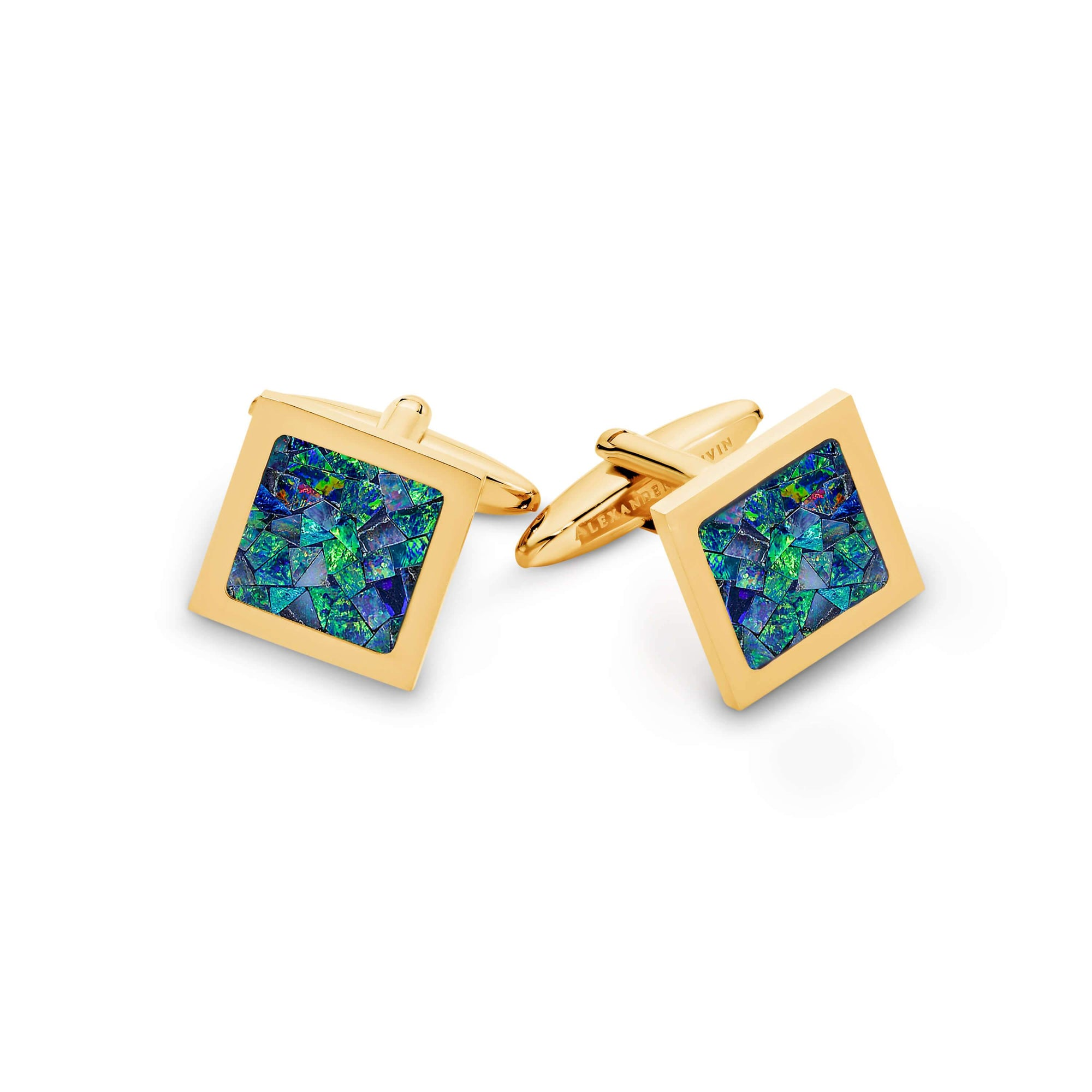 Square Premium Opal Cufflinks (Green Yellow Gold) Classic & Modern Cufflinks Clinks Australia Default
