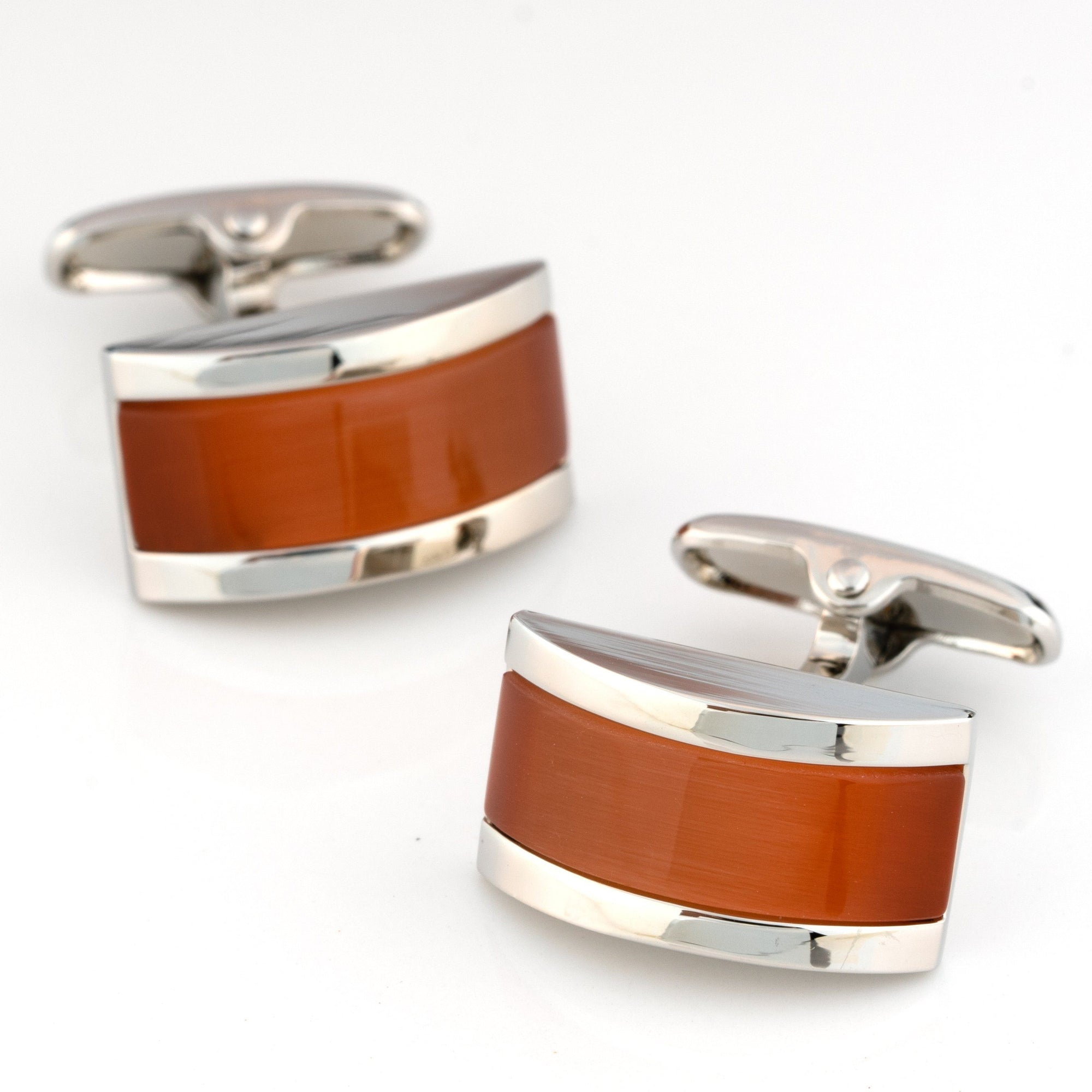 Sunset Orange Cateye Cufflinks Classic & Modern Cufflinks Clinks Australia