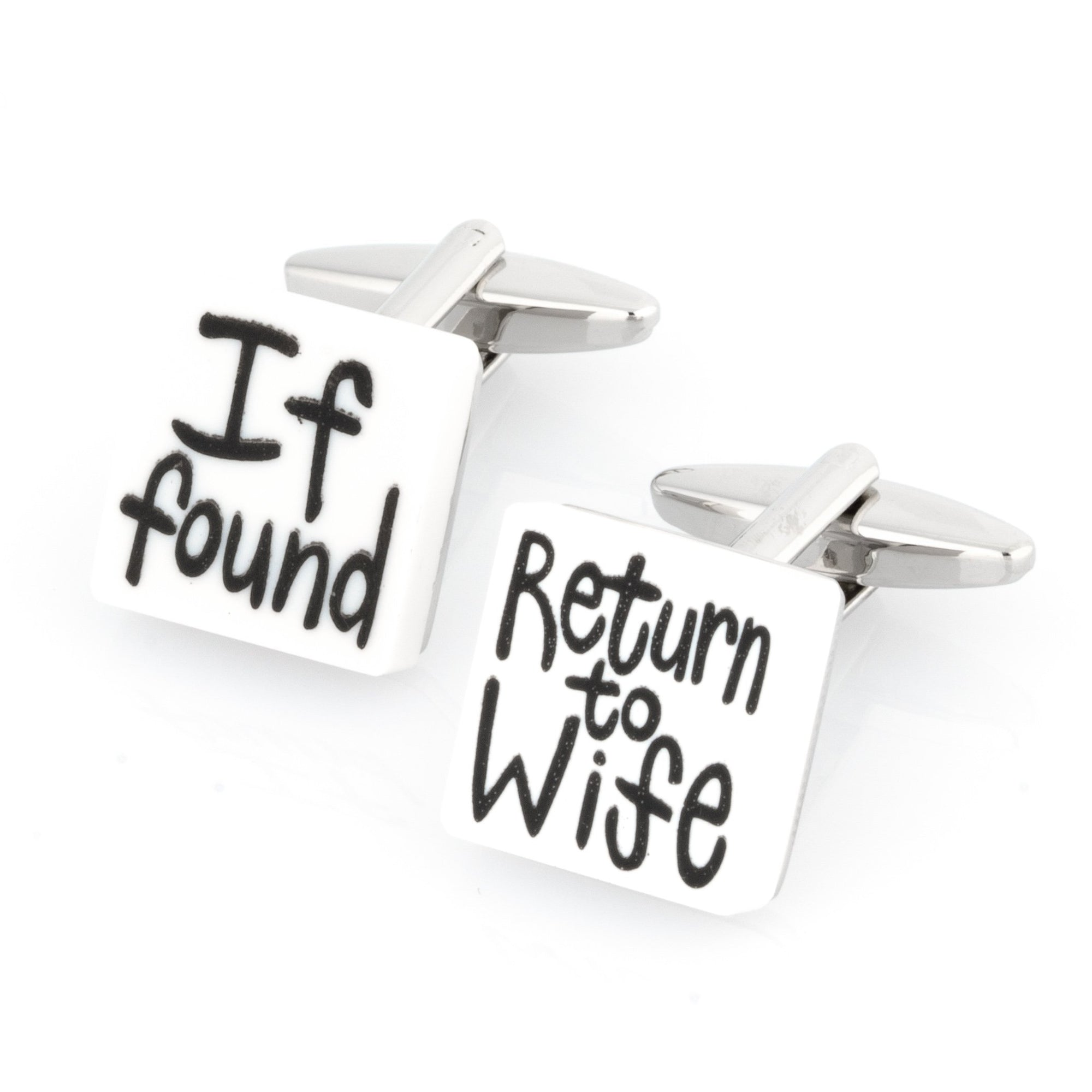 If found Return to Wife Cufflinks, Novelty Cufflinks, Cuffed.com.au, CL8480, Wedding, Words and Phrases, Clinks Australia