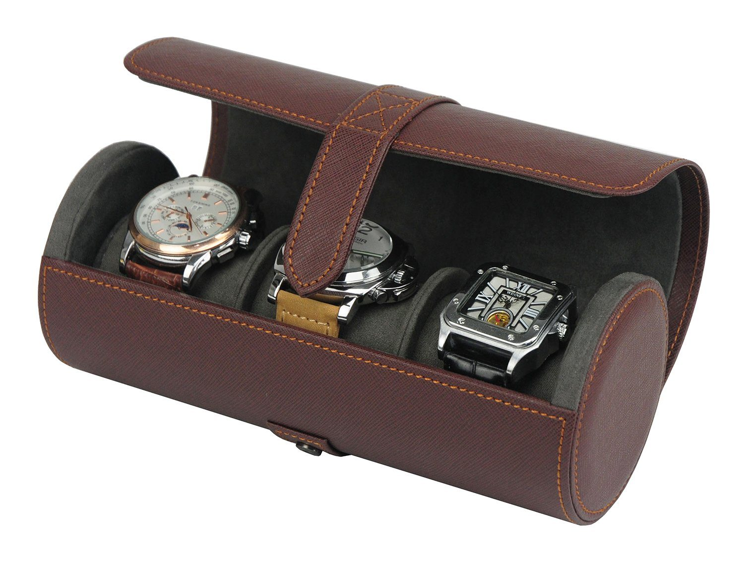 Brown Leather Watch Case for 3 Storage Boxes Clinks Australia Default