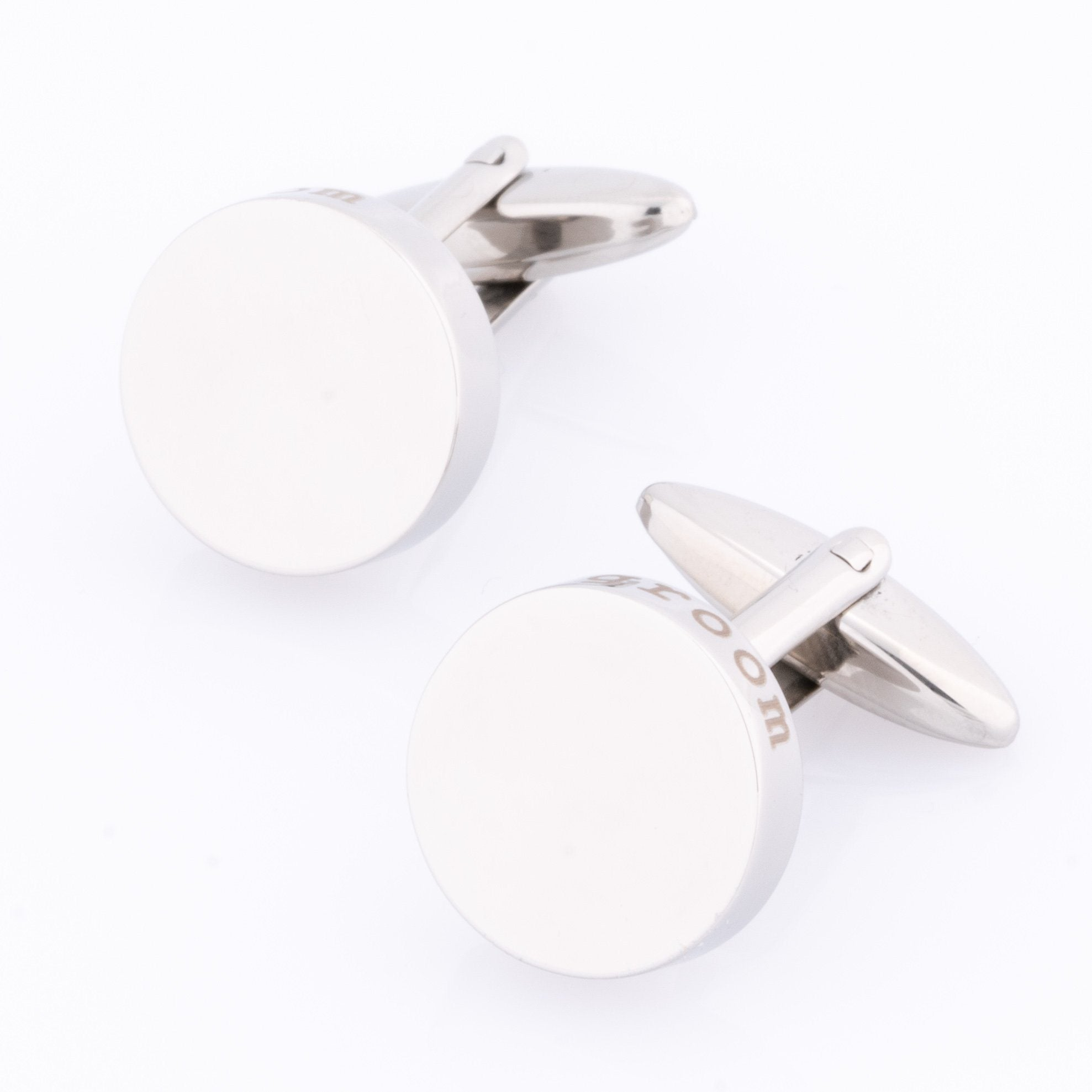 Groom Laser Etched Round Engravable Cufflinks