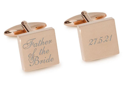 Father of the Bride Wedding Date Cufflinks Engraving Cufflinks Clinks Australia Rose Gold Natural