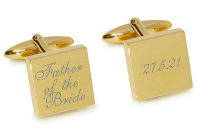 Father of the Bride Wedding Date Cufflinks Engraving Cufflinks Clinks Australia Gold Natural