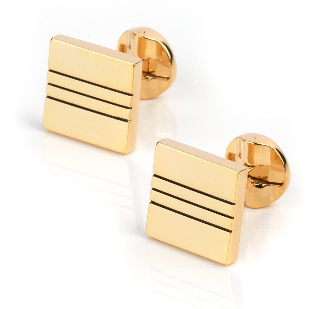 Classic Gold with Black Lines Cufflinks Classic & Modern Cufflinks Clinks Australia Classic Gold with Black Lines Cufflinks