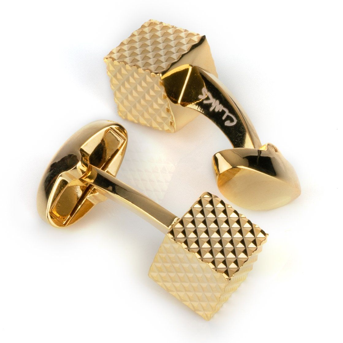 Gold Diamond Textured Cube Cufflinks Classic & Modern Cufflinks Clinks Australia Gold Diamond Textured Cube Cufflinks