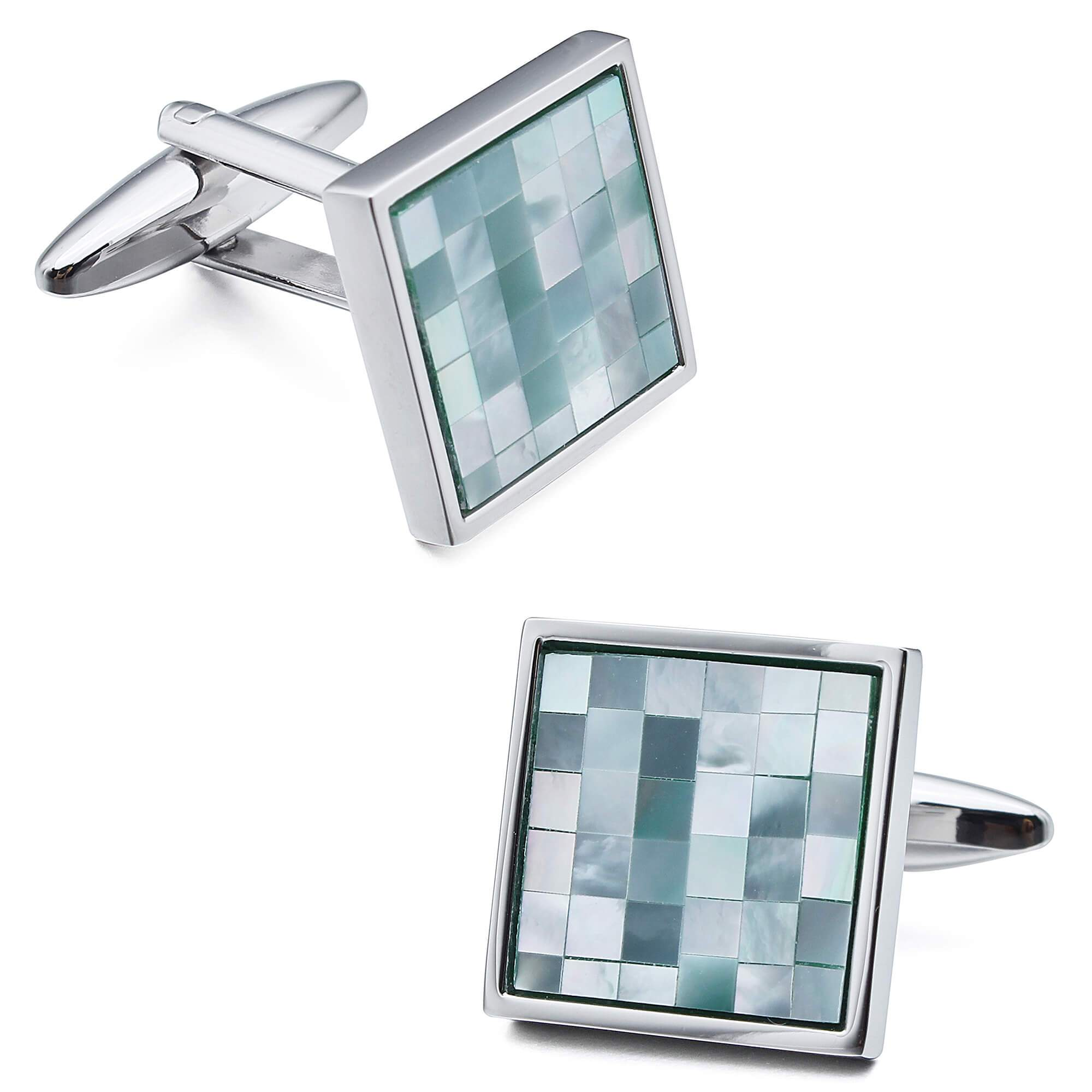 Mosaic Blue Mother of Pearl in Silver Square Cufflinks Classic & Modern Cufflinks Clinks Australia Default