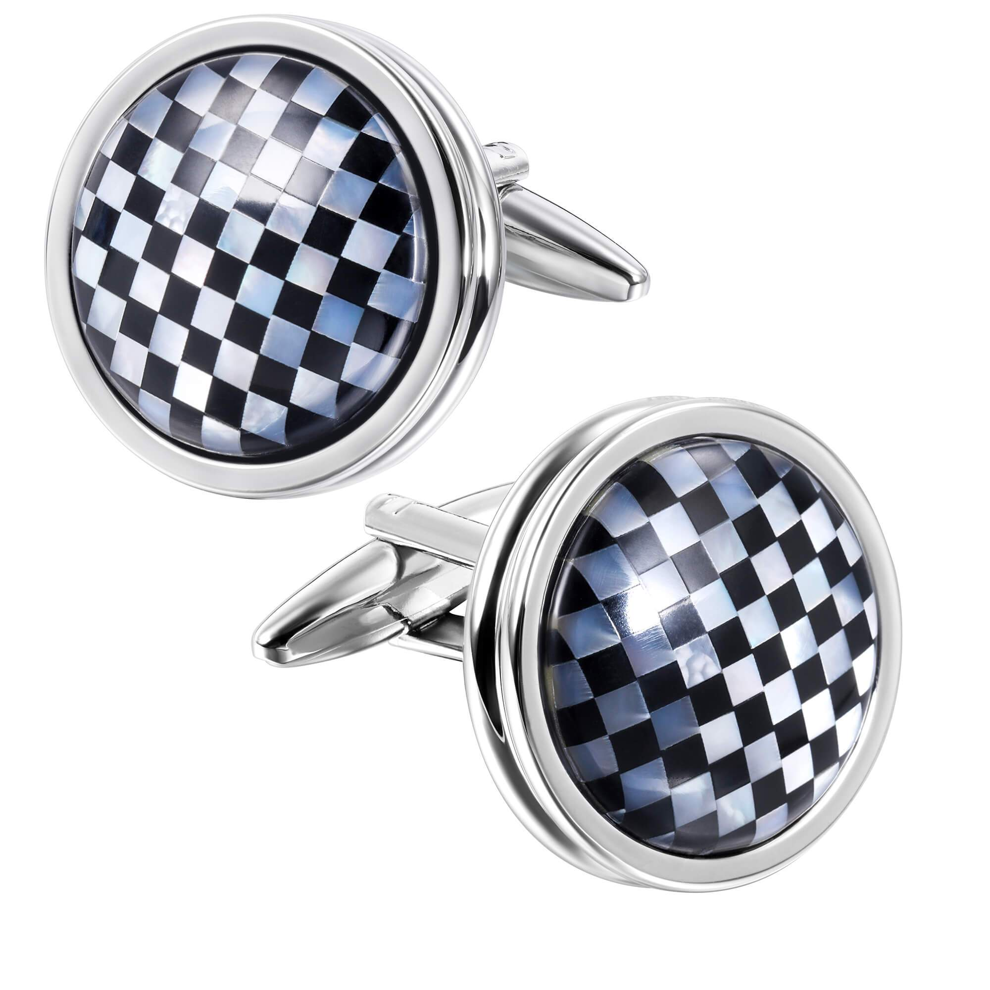 Mother of Pearl and Black Checkerboard in Round Silver Cufflinks Classic & Modern Cufflinks Clinks Australia Default
