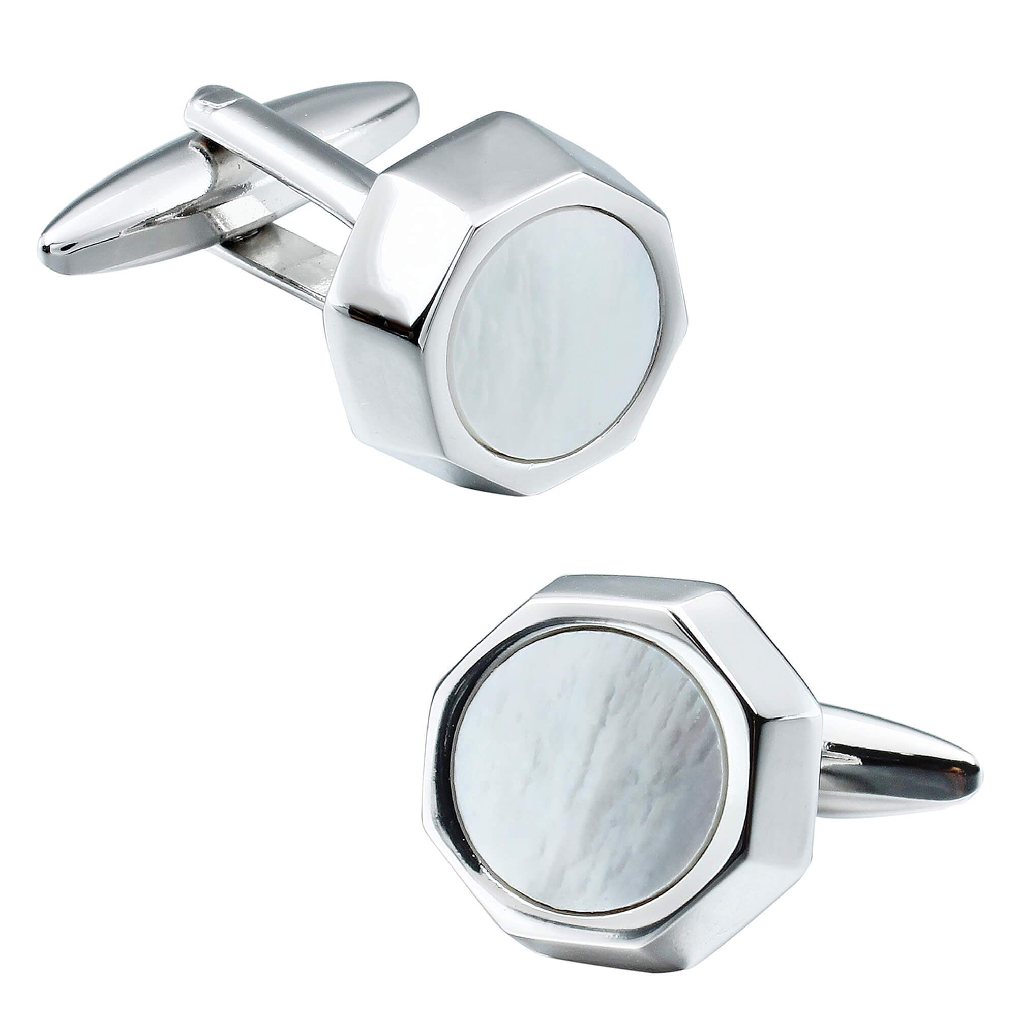 Mother of Pearl in Silver Octagon Cufflinks Classic & Modern Cufflinks Clinks Australia Default
