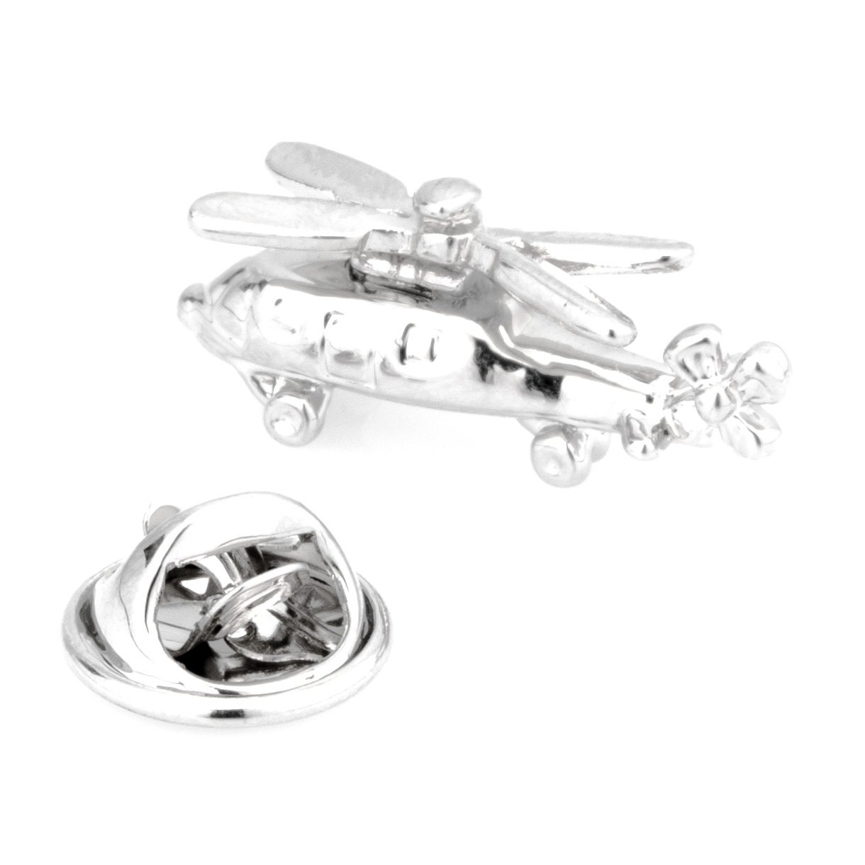 Silver Helicopter Lapel Pin