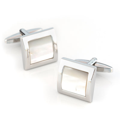 Mother of Pearl in Silver Square Cufflinks Classic & Modern Cufflinks Clinks Australia