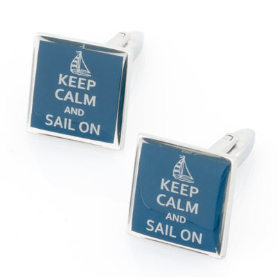 Keep Calm and Sail On Cufflinks Novelty Cufflinks Clinks Australia