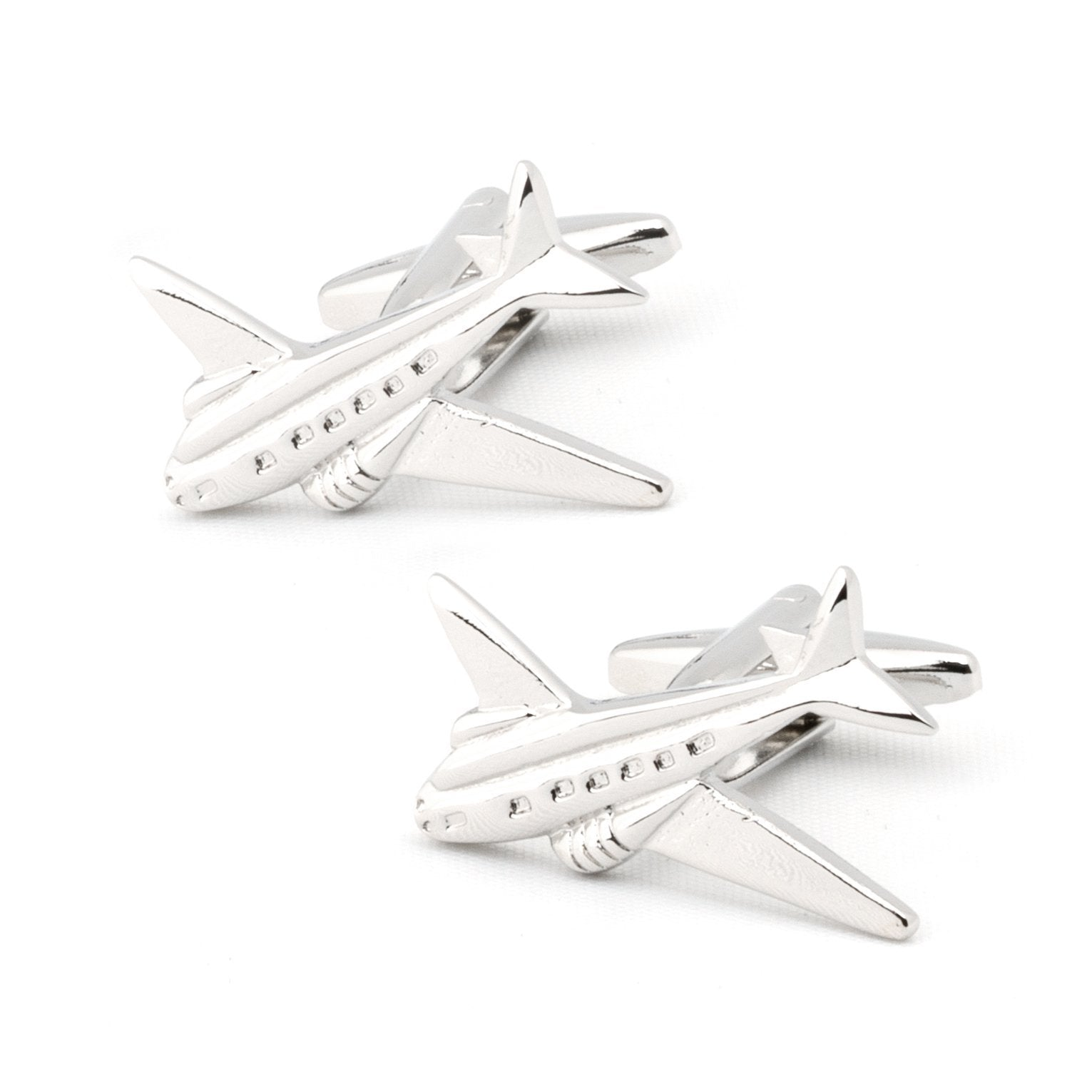 Jet Plane Silver Cufflinks, Novelty Cufflinks, Cuffed.com.au, CL6810, Aviation, Silver, Clinks Australia