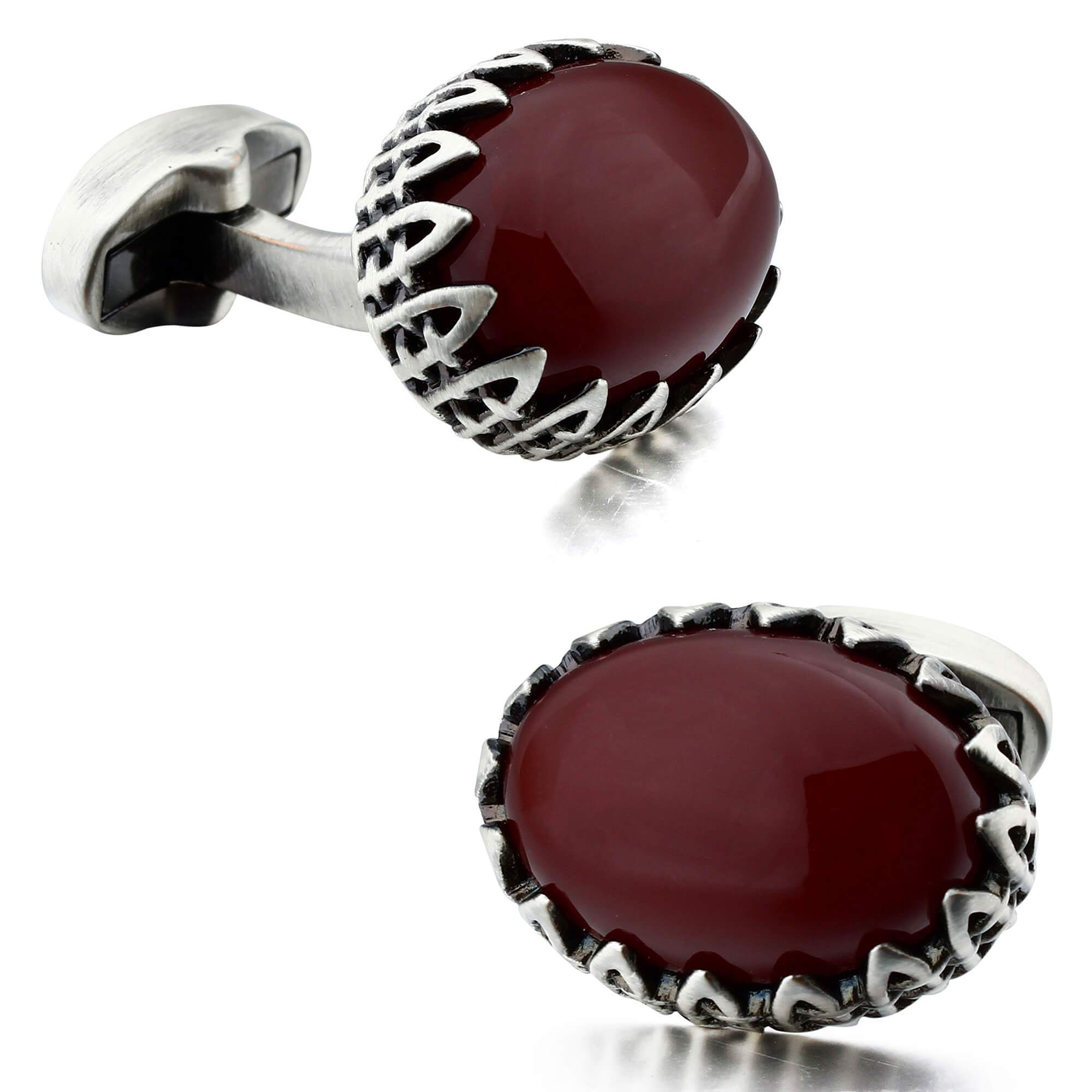 Red Agate in Antique Silver Cufflinks Classic & Modern Cufflinks Clinks Australia Default
