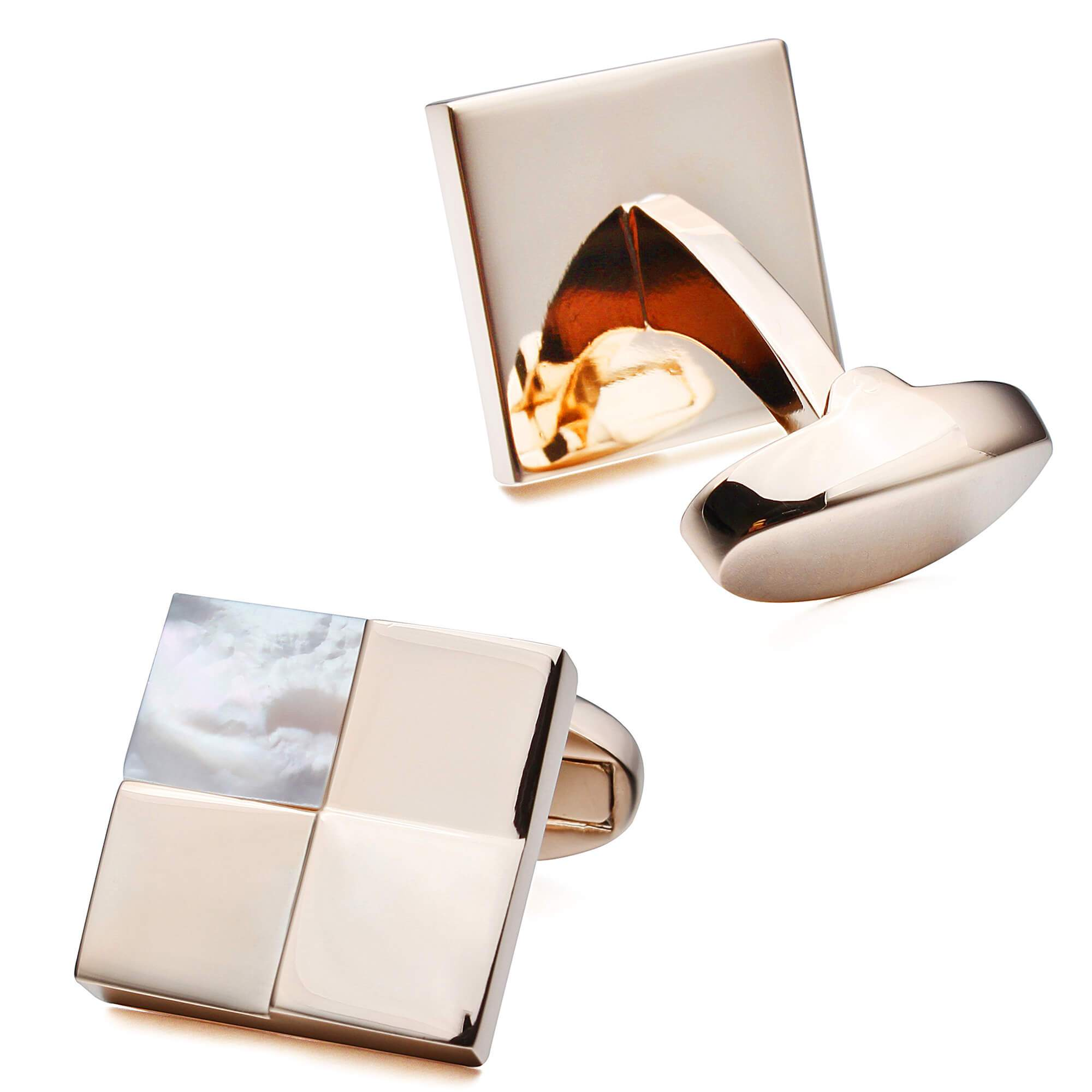 Rose Gold Four Square with Mother of Pearl Cufflinks Classic & Modern Cufflinks Clinks Australia Default
