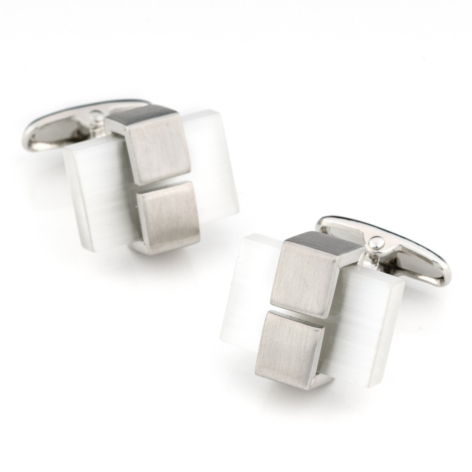 White Ice Cateye Cufflinks Classic & Modern Cufflinks Clinks Australia White Ice Cateye Cufflinks