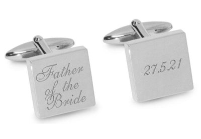 Father of the Bride Wedding Date Cufflinks Engraving Cufflinks Clinks Australia Silver Natural