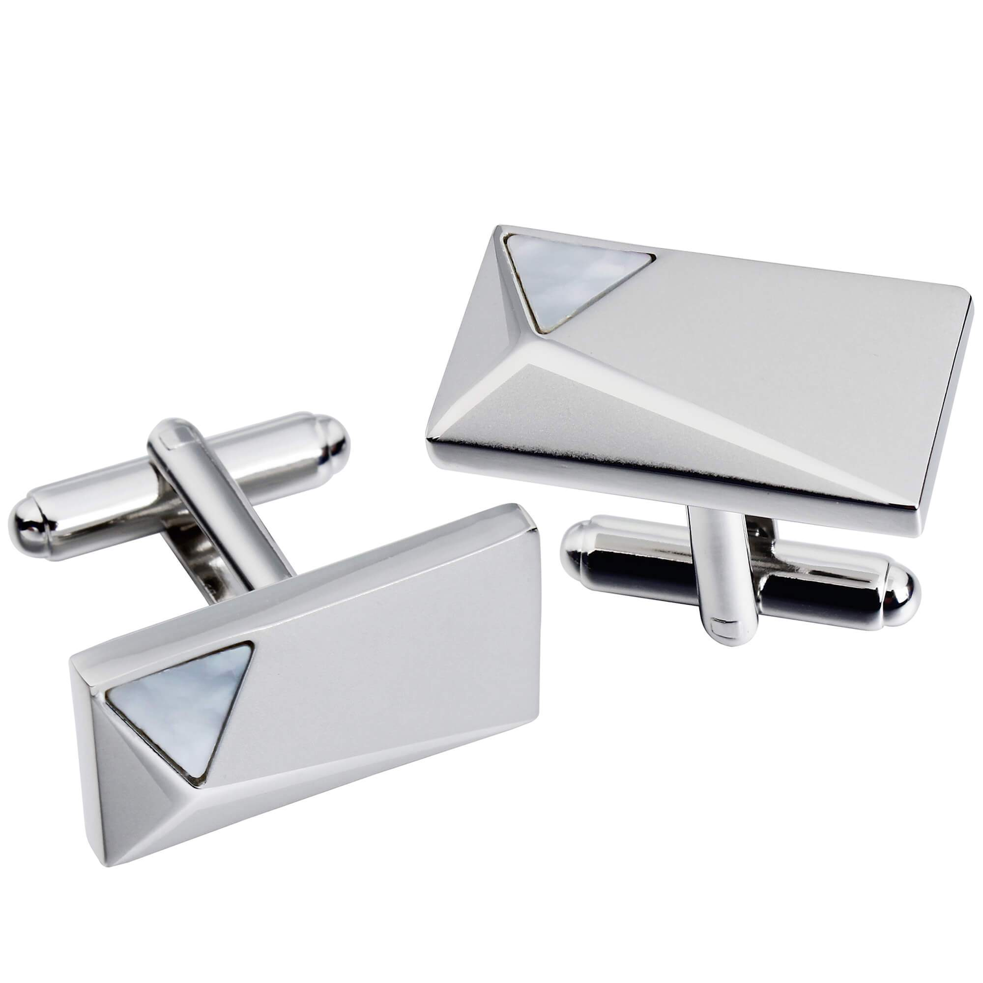 Silver Peak with Mother of Pearl Cufflinks Classic & Modern Cufflinks Clinks Australia Default