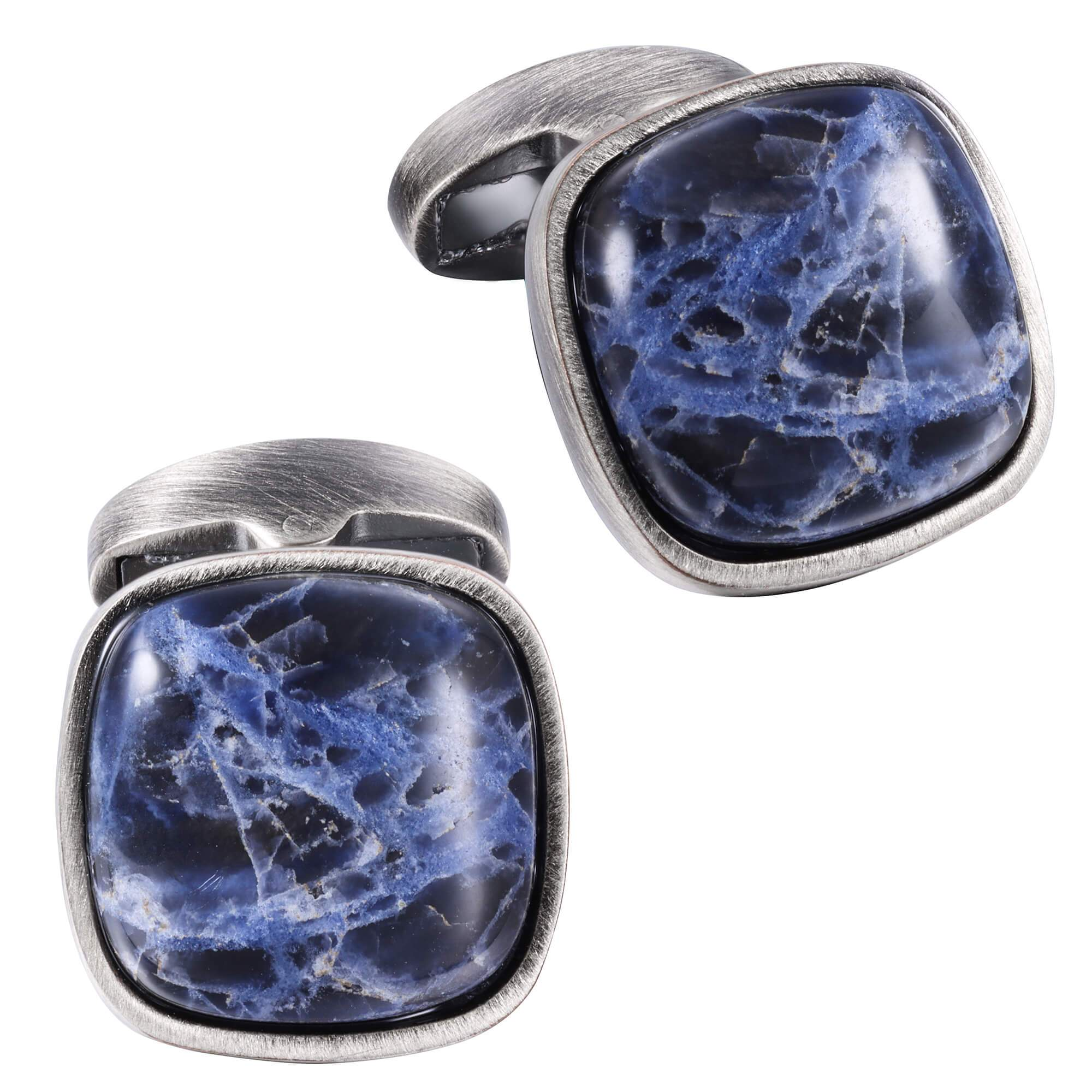 Sodalite in Antique Silver Cufflinks Classic & Modern Cufflinks Clinks Australia Default
