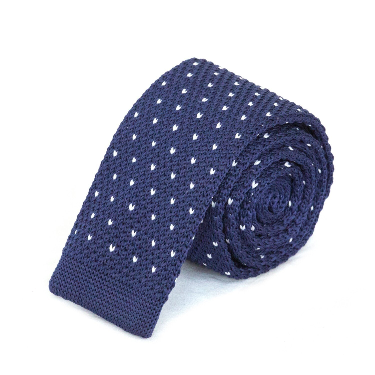 Blue and White Dot Knit Tie