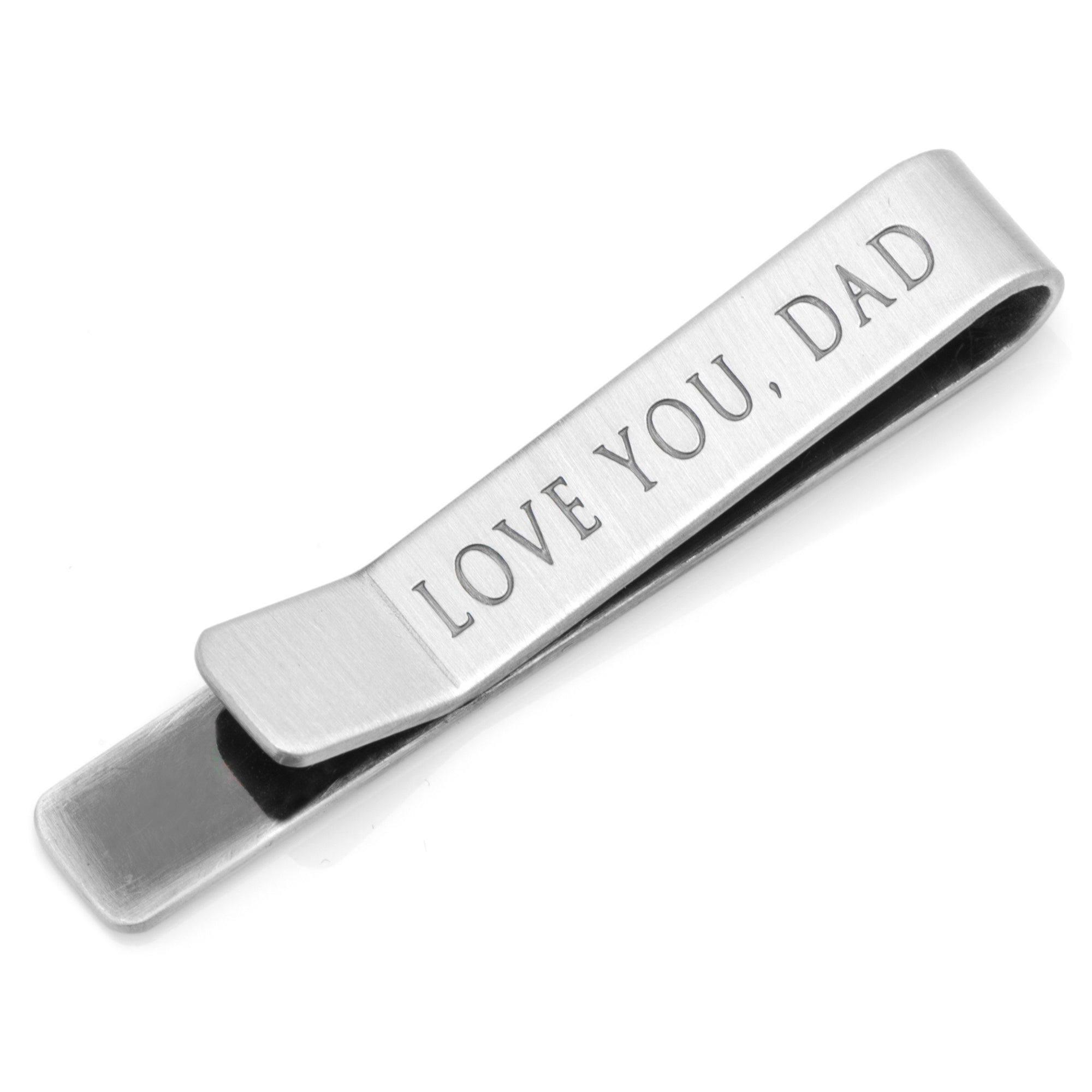 "Brushed Silver ""Love You, Dad"" Tie Clip, Tie Bars, Cuffed.com.au, TC1096, $25.00"
