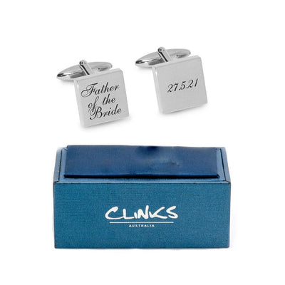 Father of the Bride Wedding Date Cufflinks Engraving Cufflinks Clinks Australia