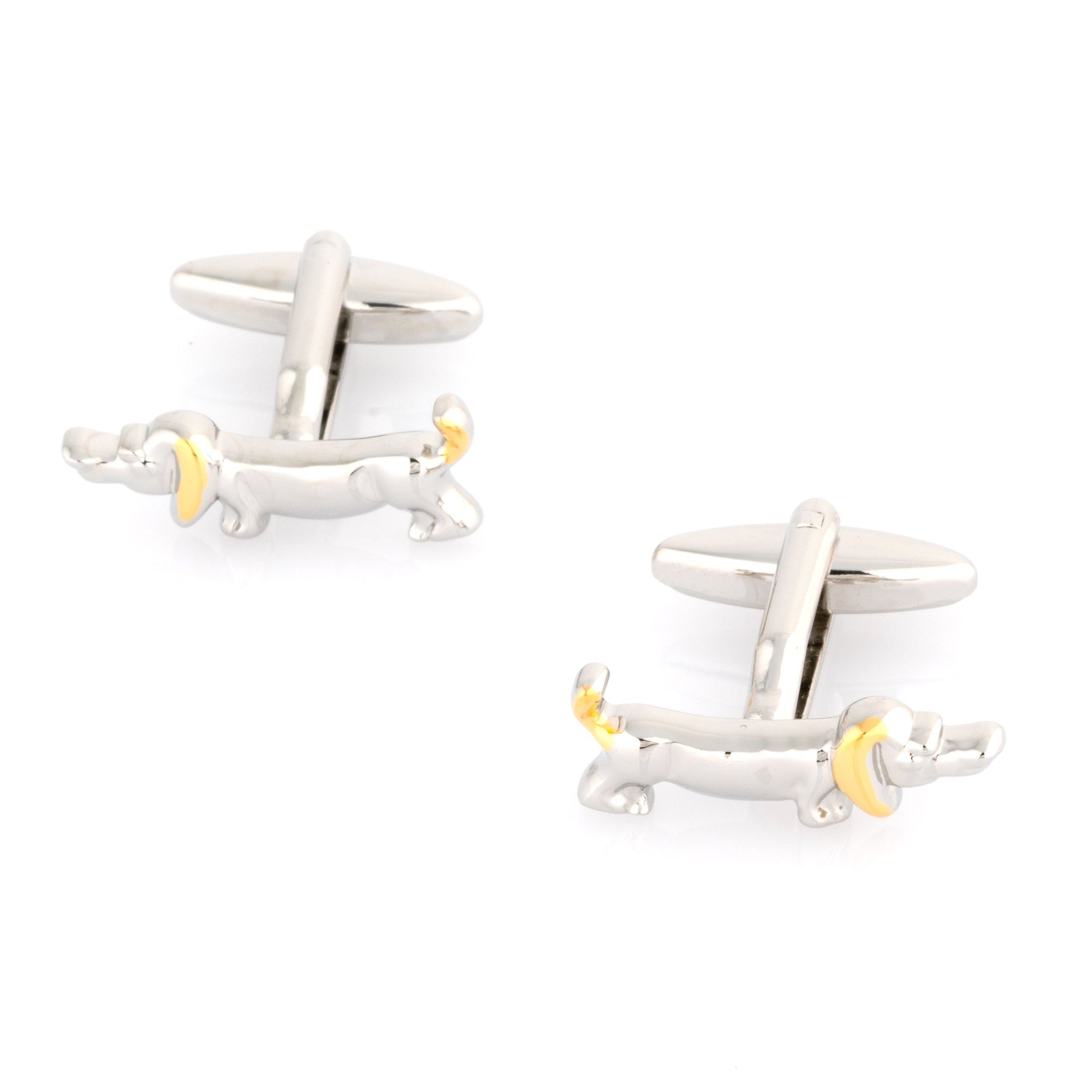 Sausage Dog Cufflinks in Gold and Silver, Novelty Cufflinks, Cuffed.com.au, CL7020, Animals, Clinks Australia