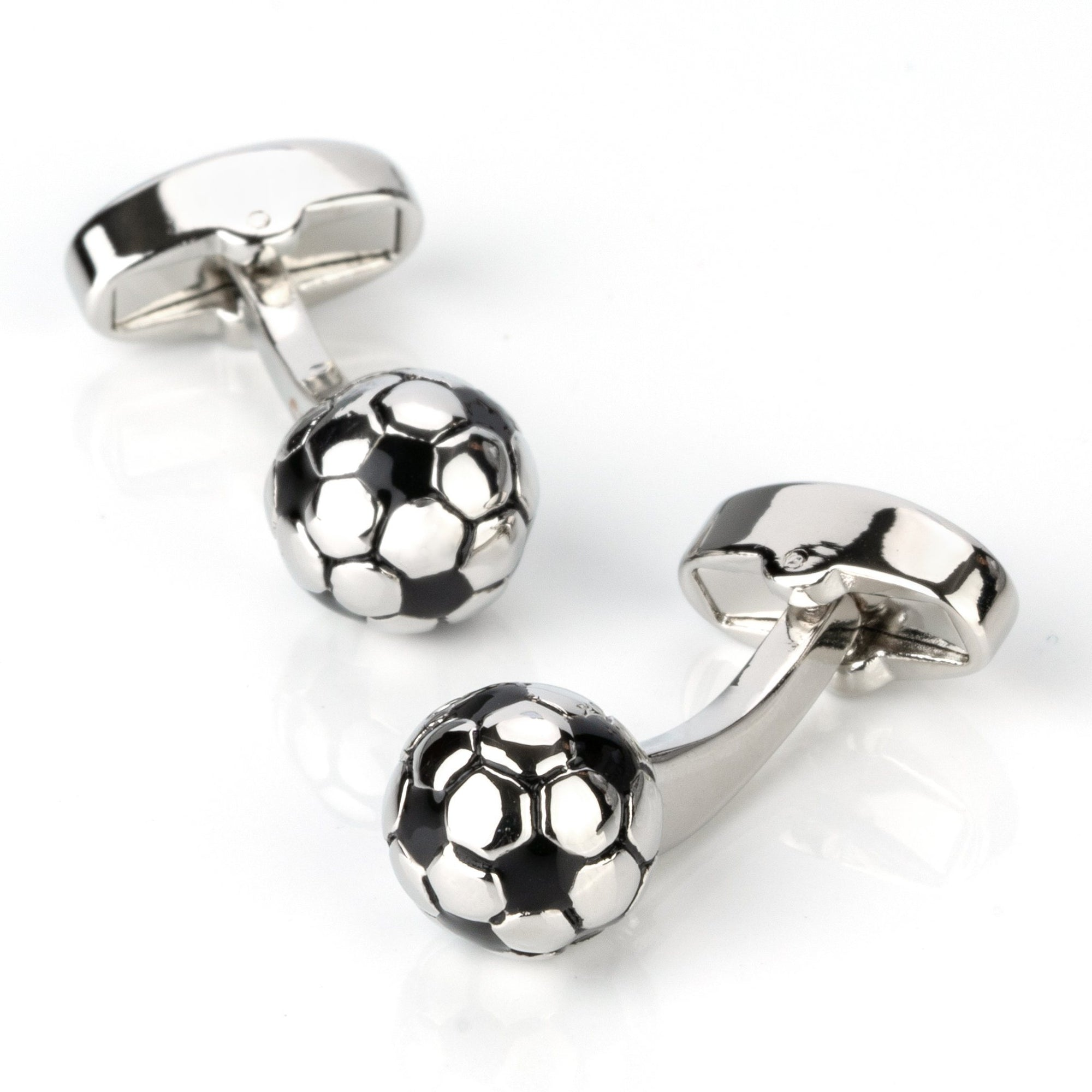3D Silver and Black Soccer Ball Football Cufflinks, Novelty Cufflinks, Cuffed.com.au, CL4279, Sports, Clinks Australia