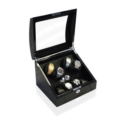 Watch Winder Box 4 + 4 Watches in Black - Carbon Fibre Interior Watch Winder Boxes Clinks Australia