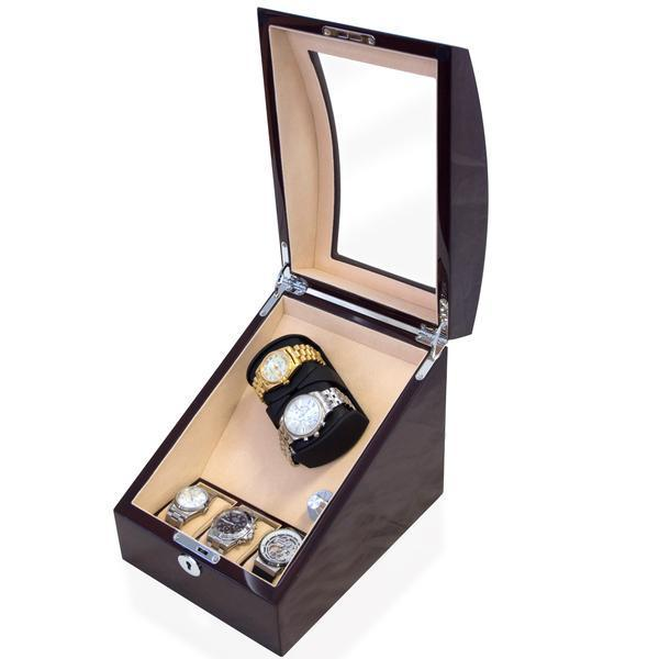 Watch Winder Box for 2 + 3 watches in Mahogany Watch Winder Boxes Clinks Australia