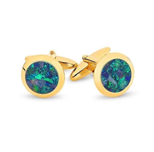 Australian Premium Opal Cufflinks (Green Yellow Gold) , Classic & Modern Cufflinks , CL7803 ,  Mens Cufflinks , Cufflinks , Cuffed , Clinks , Clinks Australia