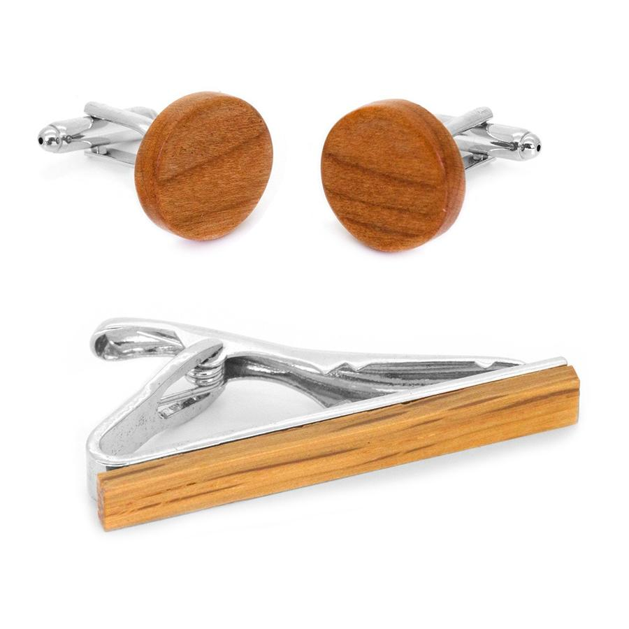 Light Brown Wood Cufflinks & Tie Clip Set Gift Set Clinks Australia Default