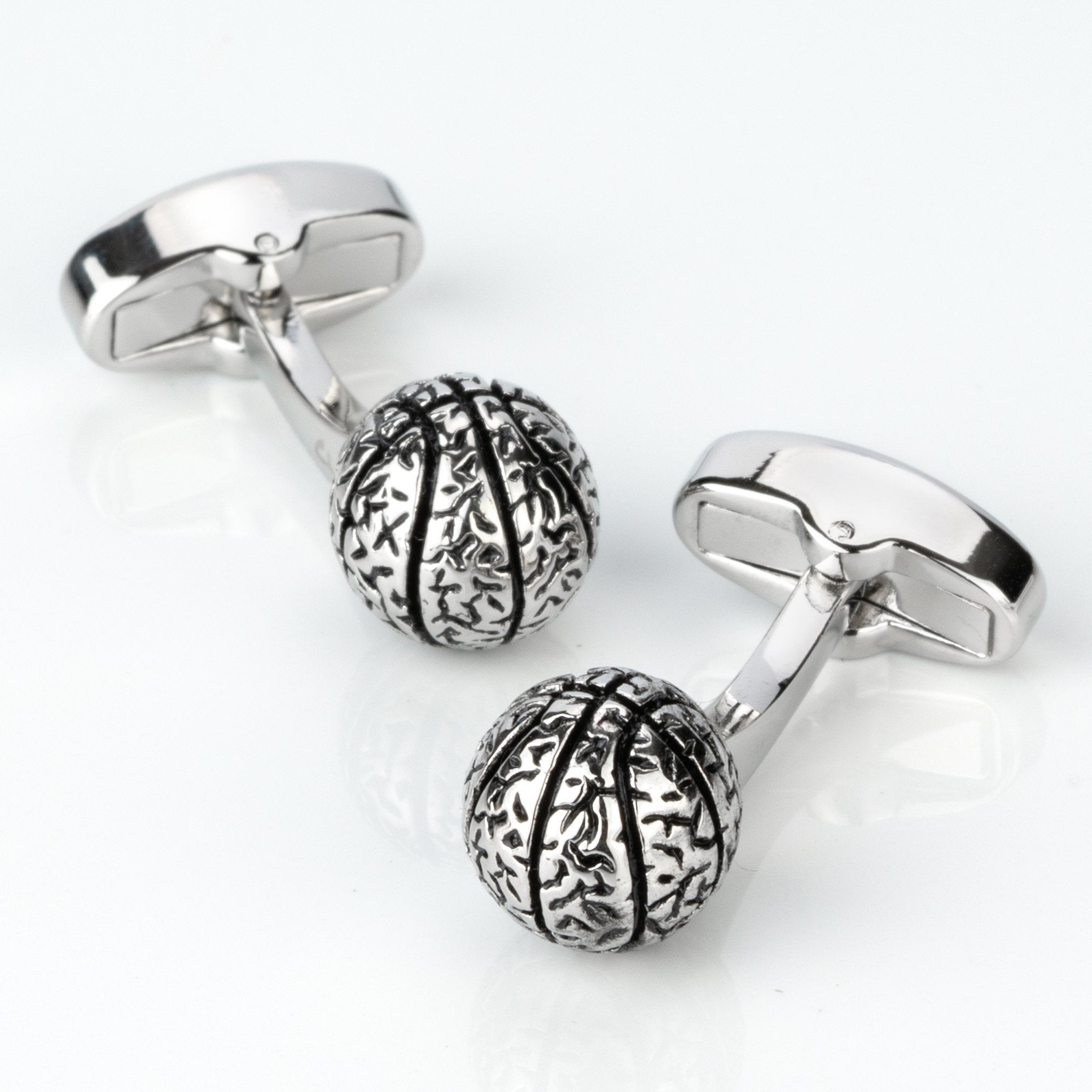 Silver Basketball Cufflinks, Novelty Cufflinks, Cuffed.com.au, CL4011, Silver, Sports, Clinks Australia