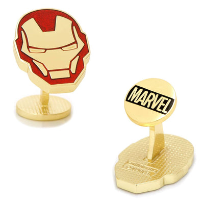 Iron Man Helmet Cufflinks in Red and Gold Novelty Cufflinks Marvel Comics Iron Man Helmet Cufflinks in Red and Gold