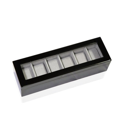 Long Watch Box with Glass Top 6 Compartments Black Storage Boxes Clinks Australia