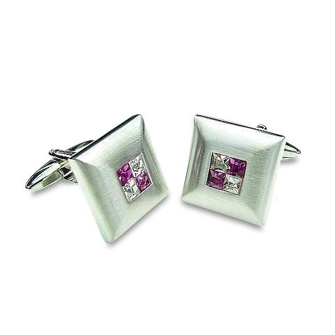 Purple Crystal Four Square Cufflinks Classic & Modern Cufflinks Clinks Australia Purple Crystal Four Square Cufflinks