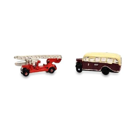 Fire Engine & Bedford Bus Cufflinks Novelty Cufflinks Clinks Australia Fire Engine & Bedford Bus Cufflinks