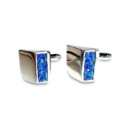 Blue Crystal Wedge Cufflinks Classic & Modern Cufflinks Clinks Australia Blue Crystal Wedge Cufflinks