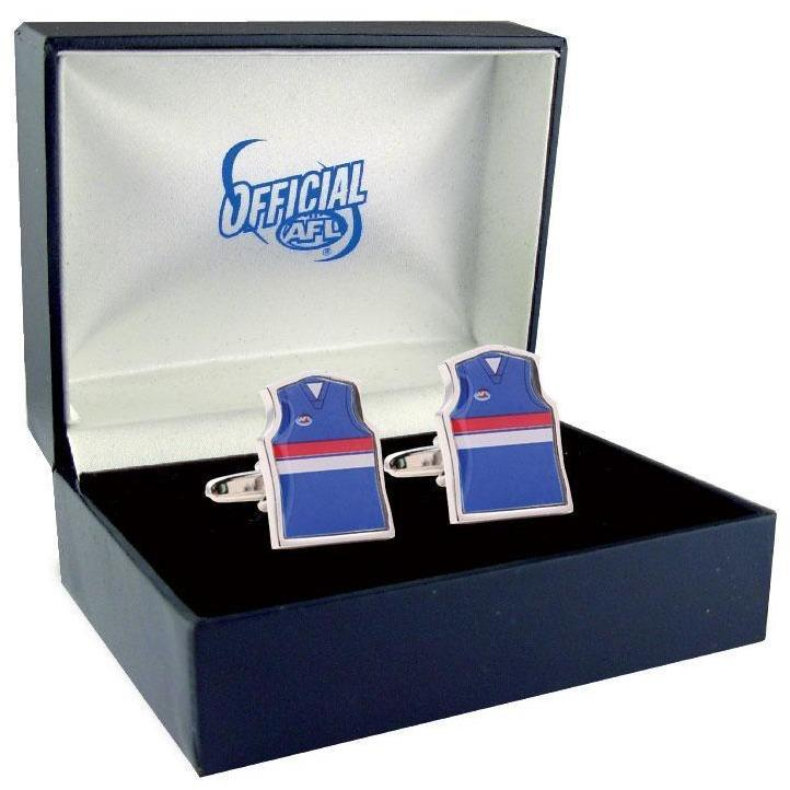 AFL Guernsey Cufflinks - Western Bulldogs Football Club, Novelty Cufflinks, Cuffed.com.au, ZBC1088, $42.00