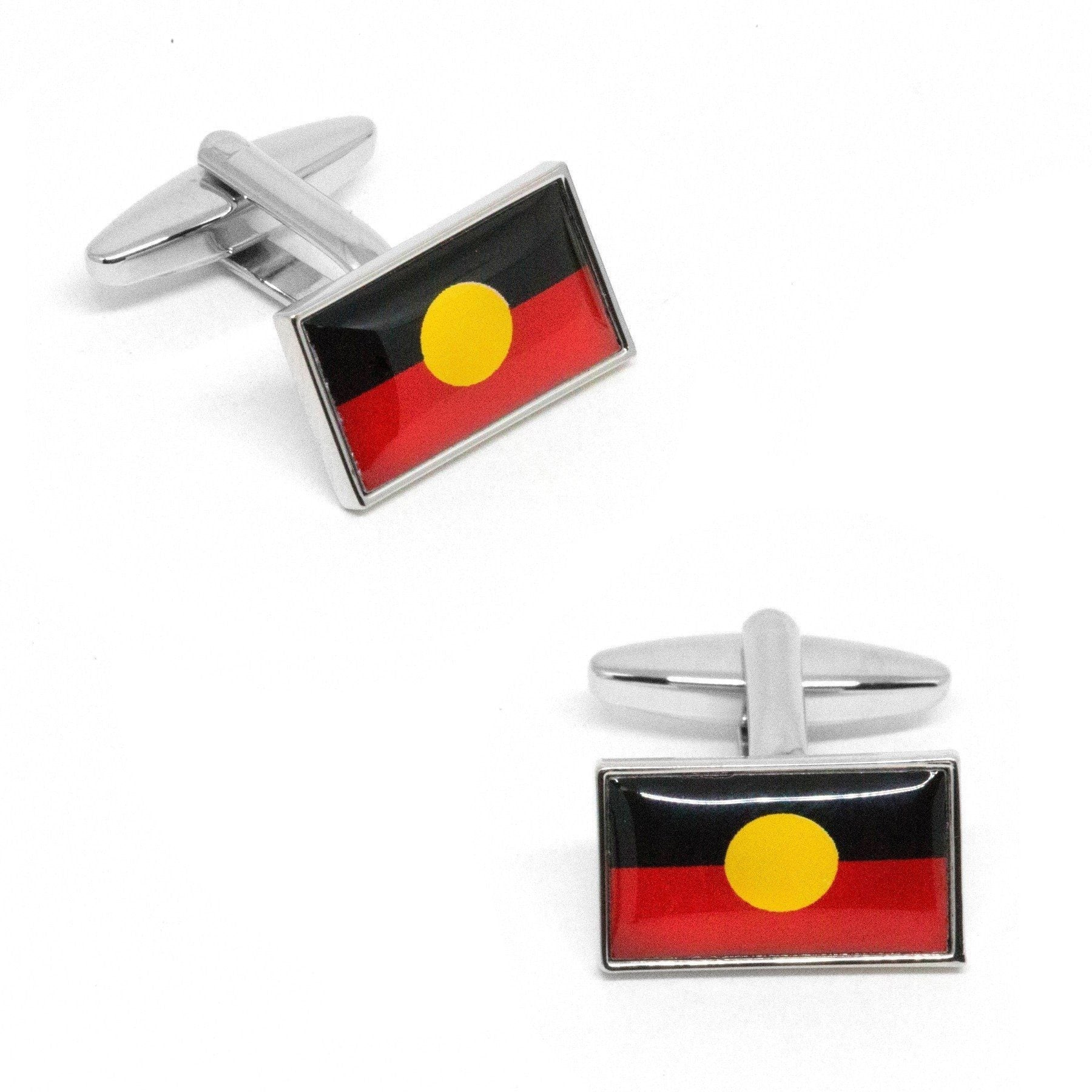 Australian Aboriginal Flag Cufflinks, Novelty Cufflinks, Cuffed.com.au, CL8501, $29.00