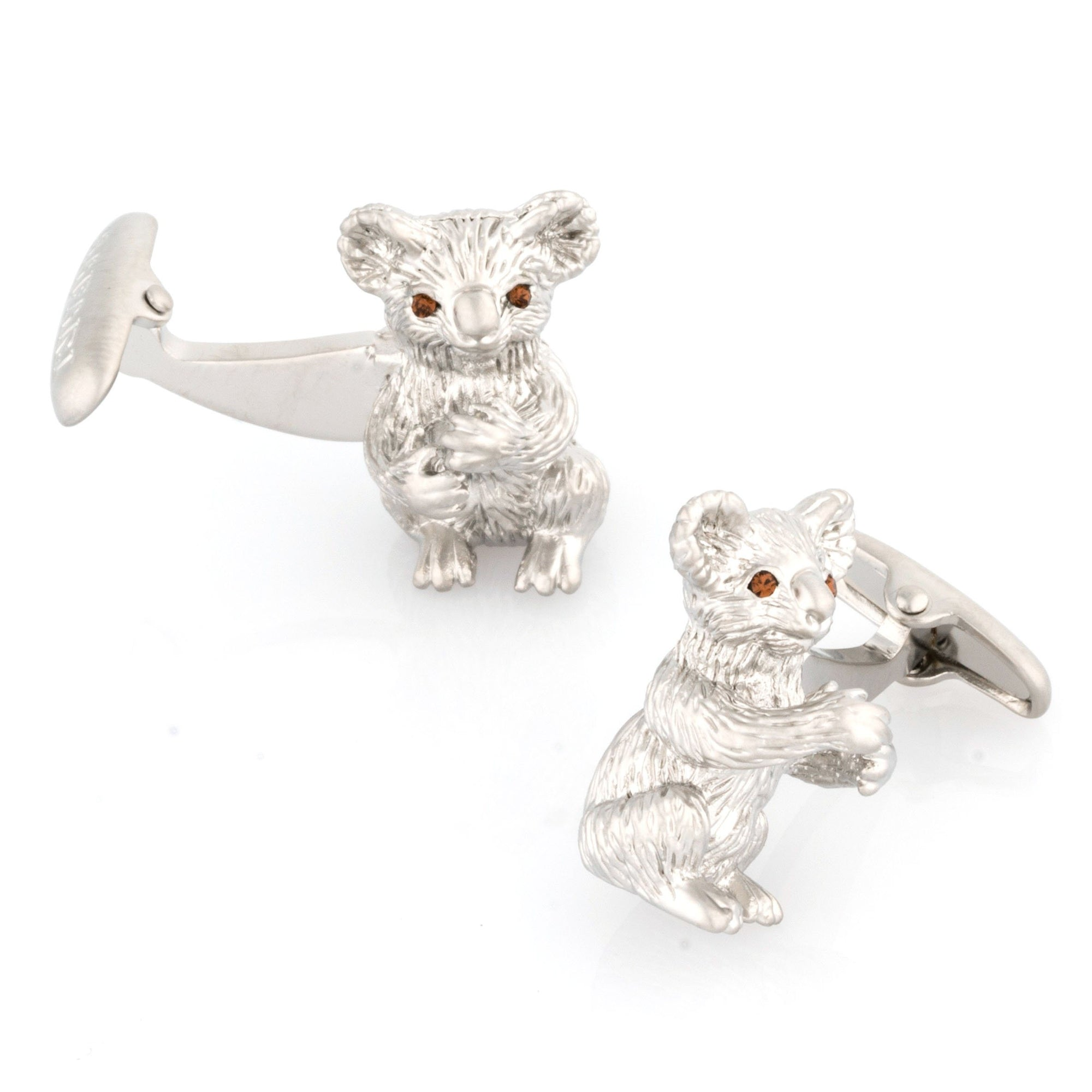Silver Koala Cufflinks with Crystal Eyes Novelty Cufflinks Clinks Australia Silver Koala Cufflinks with Crystal Eyes