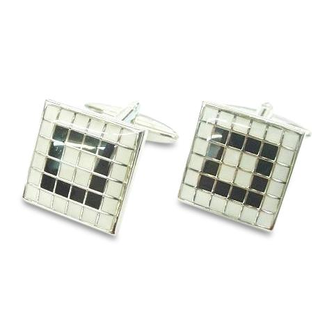 BlackWhite Tiled Mosaic Cufflinks Classic & Modern Cufflinks Clinks Australia Black White Tiled Mosaic Cufflinks