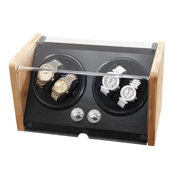Bamboo/Black Watch Winder Box for 4 Watches Watch Winder Boxes Clinks Australia Default