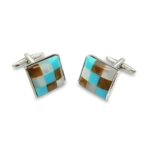 Patchwork Catseye Cufflinks: Brown, AquaWhite Classic & Modern Cufflinks Clinks Australia Patchwork Catseye Cufflinks: Brown, Aqua White